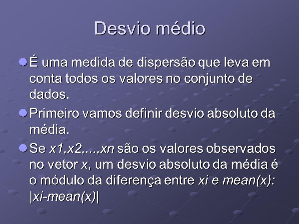 Desvio médio É uma medida de dispersão que leva em conta todos os valores no conjunto de dados. Primeiro vamos definir desvio absoluto da média.