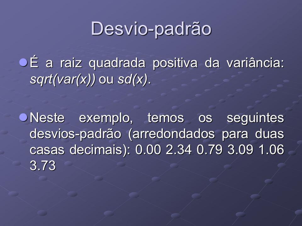 Desvio-padrão É a raiz quadrada positiva da variância: sqrt(var(x)) ou sd(x).