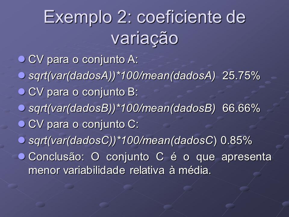 Exemplo 2: coeficiente de variação