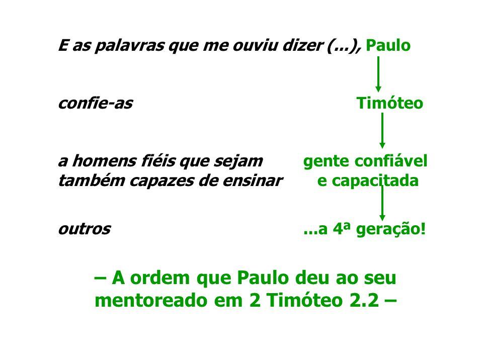– A ordem que Paulo deu ao seu mentoreado em 2 Timóteo 2.2 –