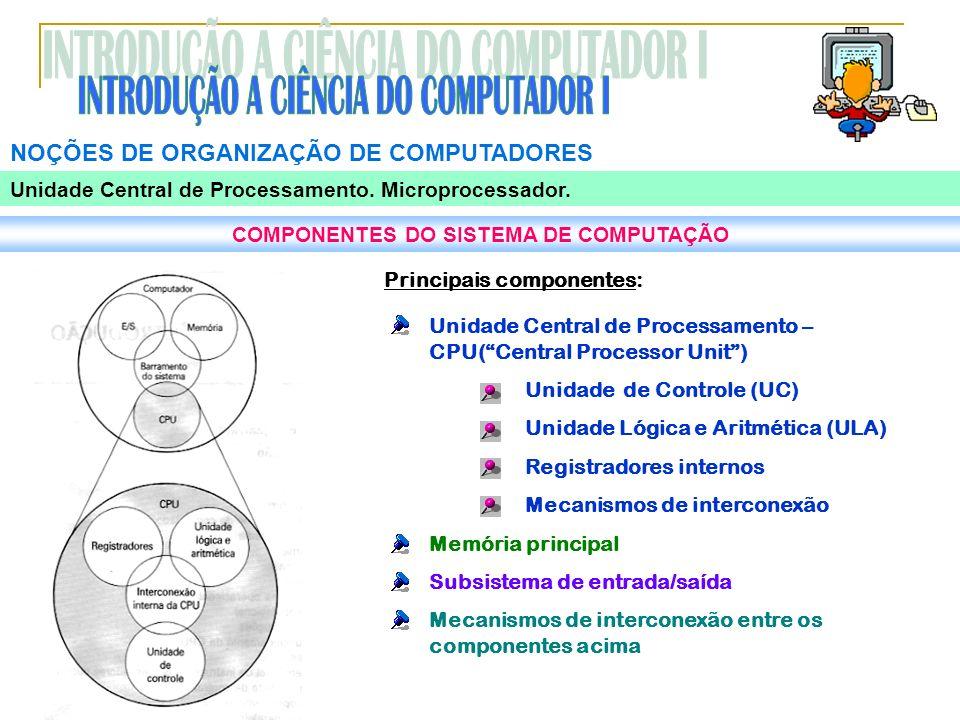 COMPONENTES DO SISTEMA DE COMPUTAÇÃO