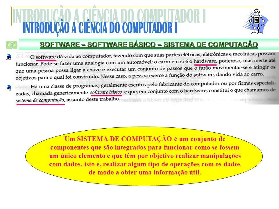 SOFTWARE – SOFTWARE BÁSICO – SISTEMA DE COMPUTAÇÃO