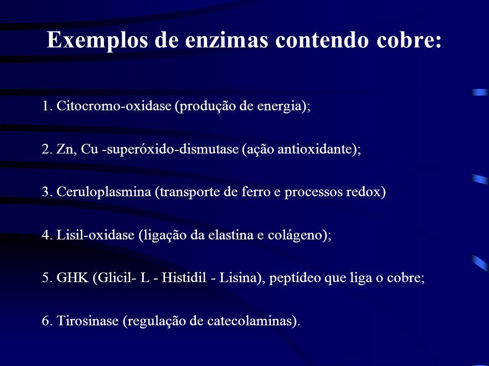 Exemplos de enzimas contendo cobre: