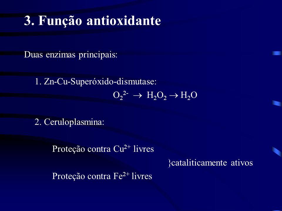 3. Função antioxidante Duas enzimas principais: