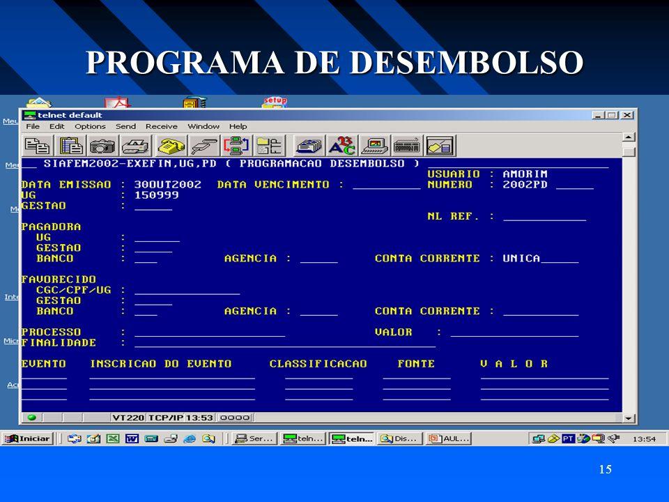 PROGRAMA DE DESEMBOLSO
