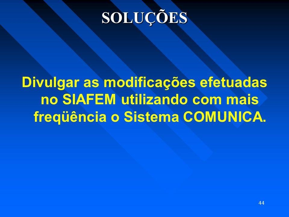 SOLUÇÕES Divulgar as modificações efetuadas no SIAFEM utilizando com mais freqüência o Sistema COMUNICA.