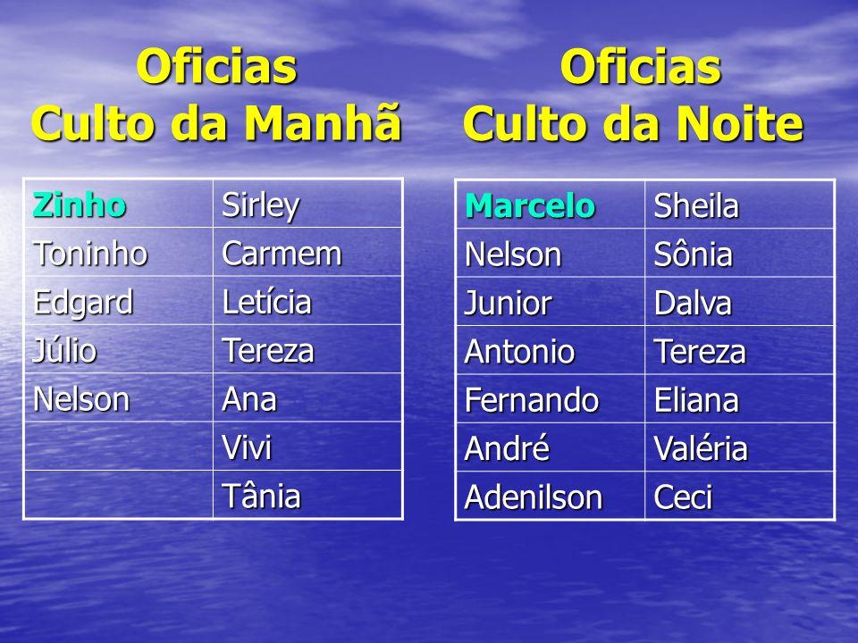 Oficias Culto da Manhã Oficias Culto da Noite Zinho Sirley Toninho