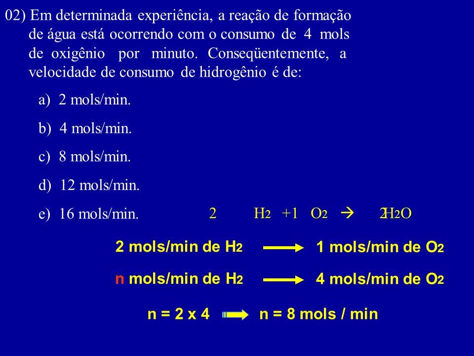02) Em determinada experiência, a reação de formação