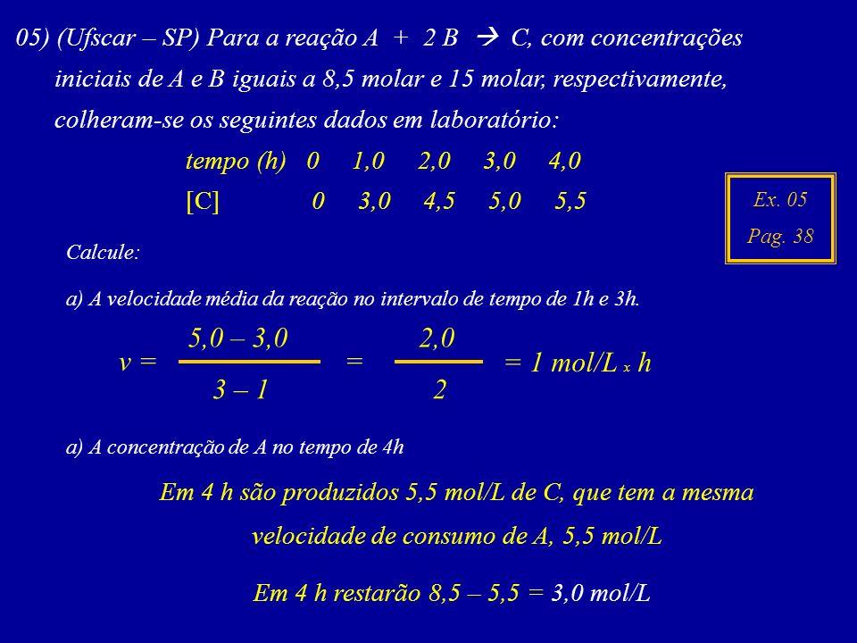 05) (Ufscar – SP) Para a reação A + 2 B  C, com concentrações