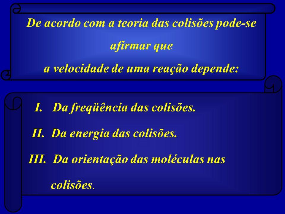 De acordo com a teoria das colisões pode-se afirmar que