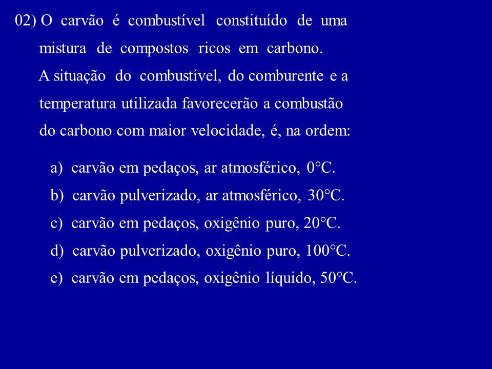 02) O carvão é combustível constituído de uma