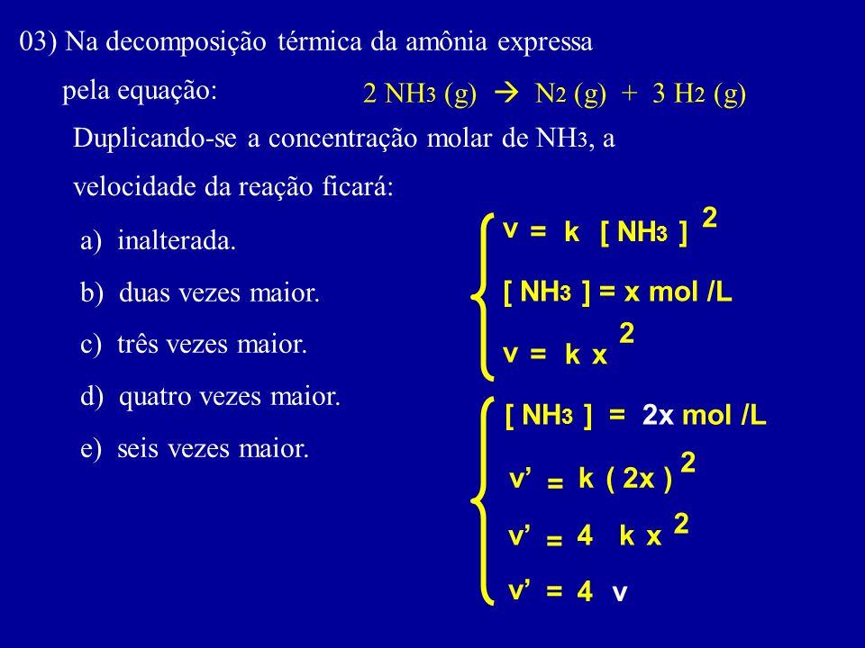 03) Na decomposição térmica da amônia expressa