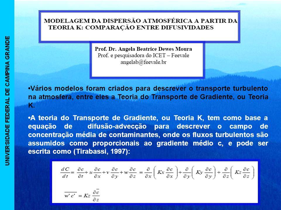 •Vários modelos foram criados para descrever o transporte turbulento na atmosfera, entre eles a Teoria do Transporte de Gradiente, ou Teoria K.