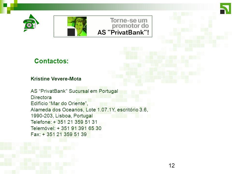 Contactos: Kristine Vevere-Mota AS PrivatBank Sucursal em Portugal