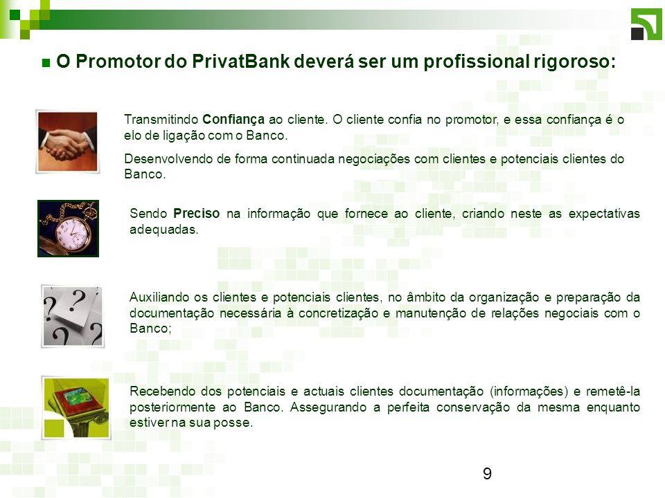 O Promotor do PrivatBank deverá ser um profissional rigoroso: