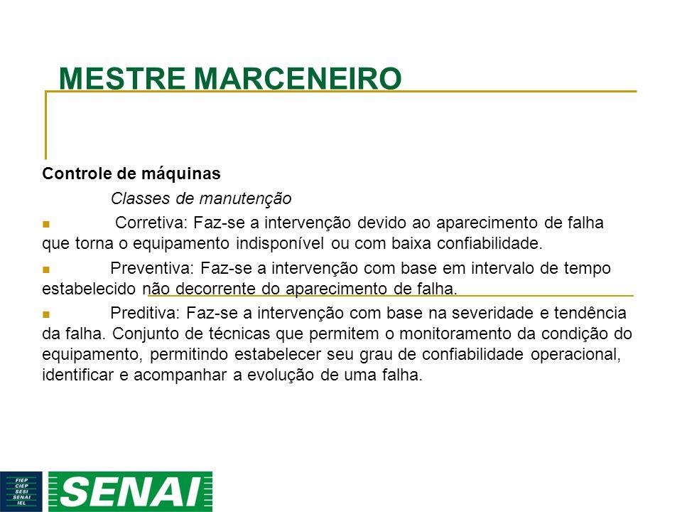 MESTRE MARCENEIRO Controle de máquinas Classes de manutenção
