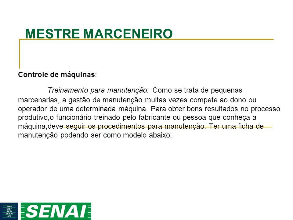 MESTRE MARCENEIRO Controle de máquinas: