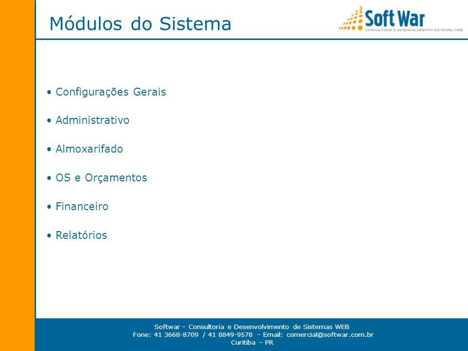 Módulos do Sistema Configurações Gerais Administrativo Almoxarifado