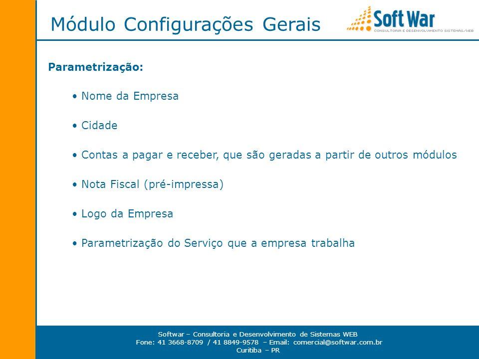 Módulo Configurações Gerais