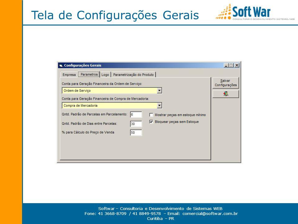 Tela de Configurações Gerais
