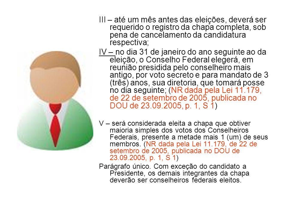 III – até um mês antes das eleições, deverá ser requerido o registro da chapa completa, sob pena de cancelamento da candidatura respectiva;