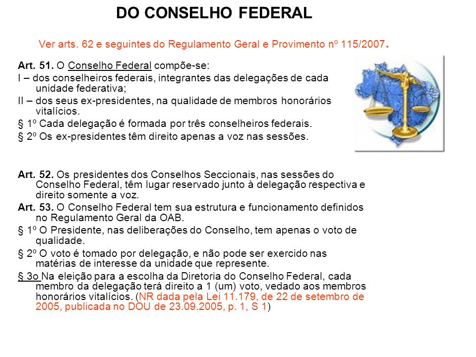 DO CONSELHO FEDERAL Ver arts