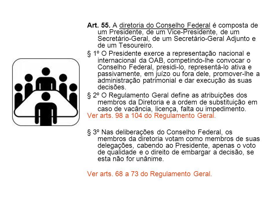 Art. 55. A diretoria do Conselho Federal é composta de um Presidente, de um Vice-Presidente, de um Secretário-Geral, de um Secretário-Geral Adjunto e de um Tesoureiro.
