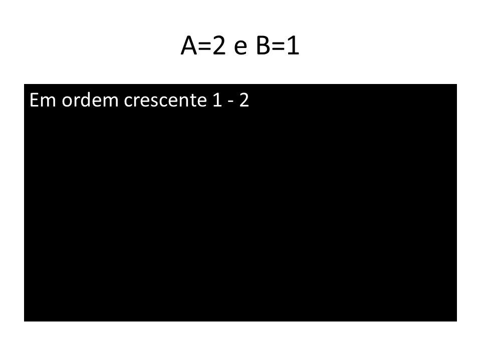 A=2 e B=1 Em ordem crescente 1 - 2