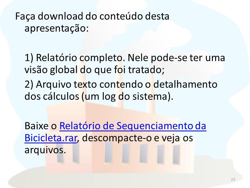 Faça download do conteúdo desta apresentação: 1) Relatório completo