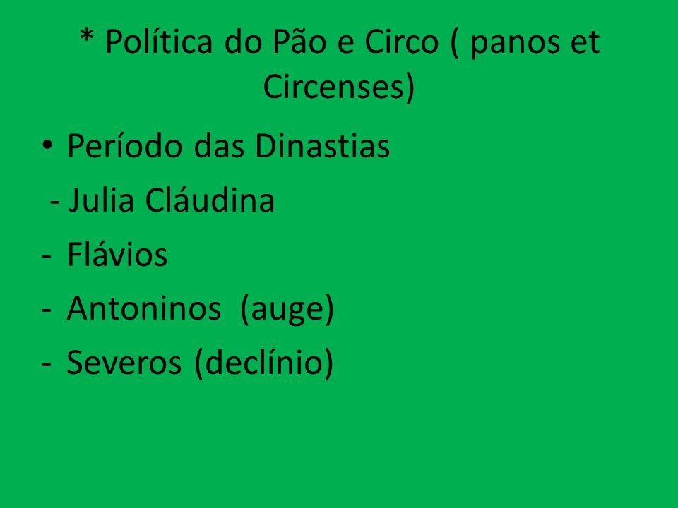 * Política do Pão e Circo ( panos et Circenses)