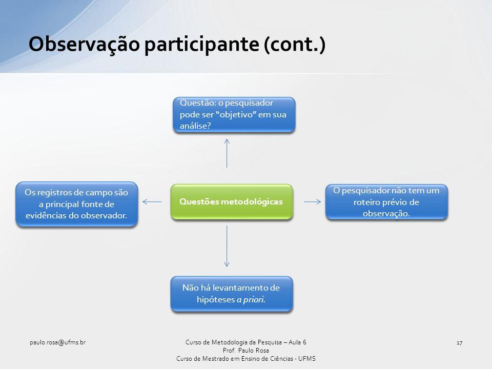 Observação participante (cont.)