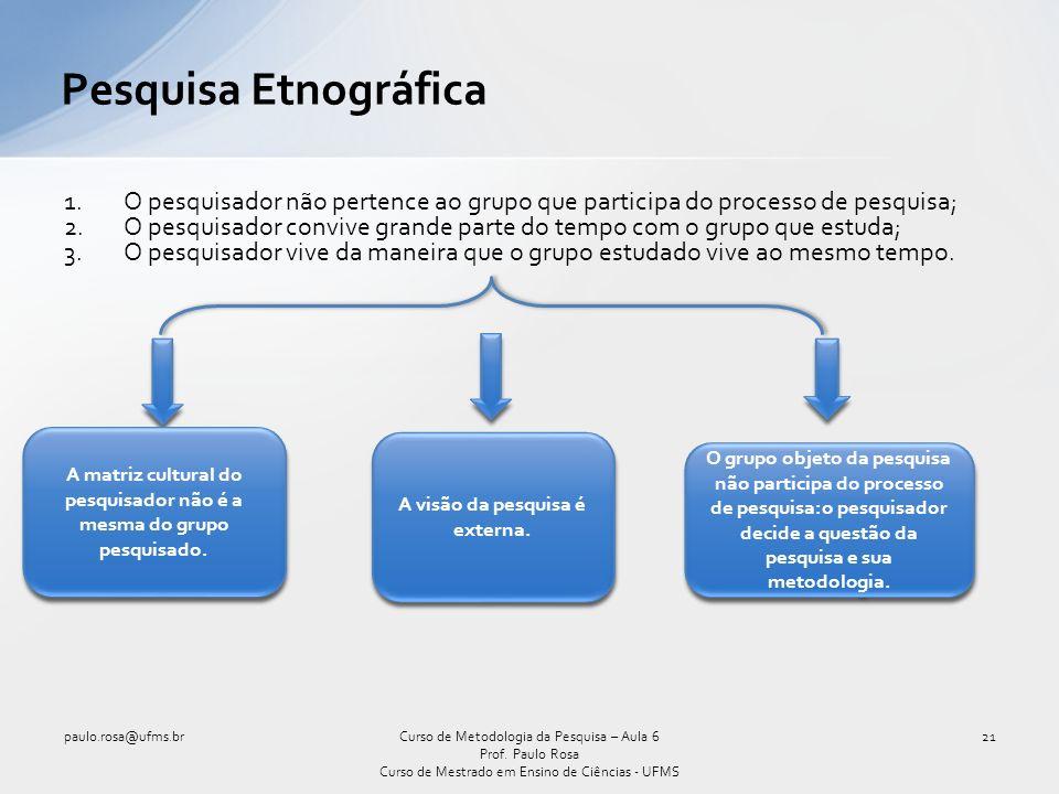 Pesquisa Etnográfica O pesquisador não pertence ao grupo que participa do processo de pesquisa;