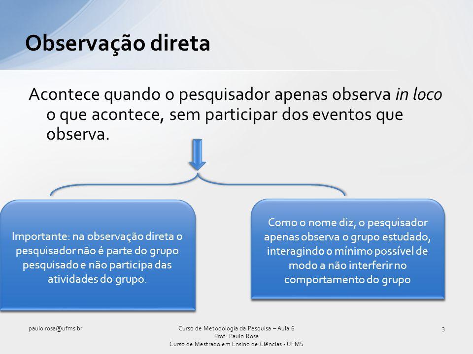 Observação direta Acontece quando o pesquisador apenas observa in loco o que acontece, sem participar dos eventos que observa.