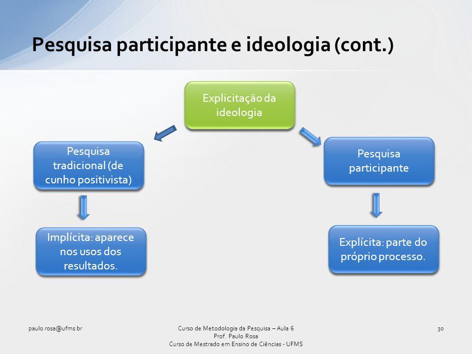 Pesquisa participante e ideologia (cont.)