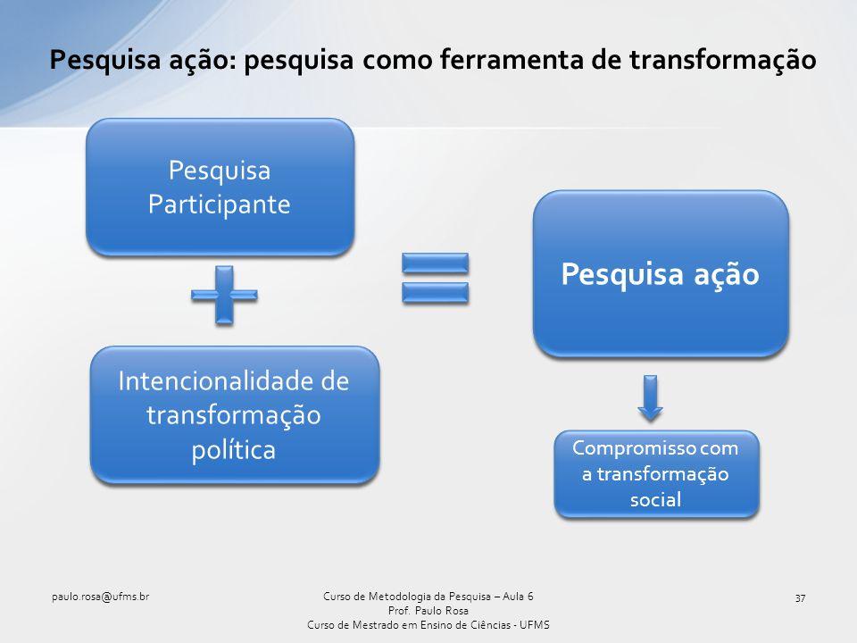 Pesquisa ação: pesquisa como ferramenta de transformação