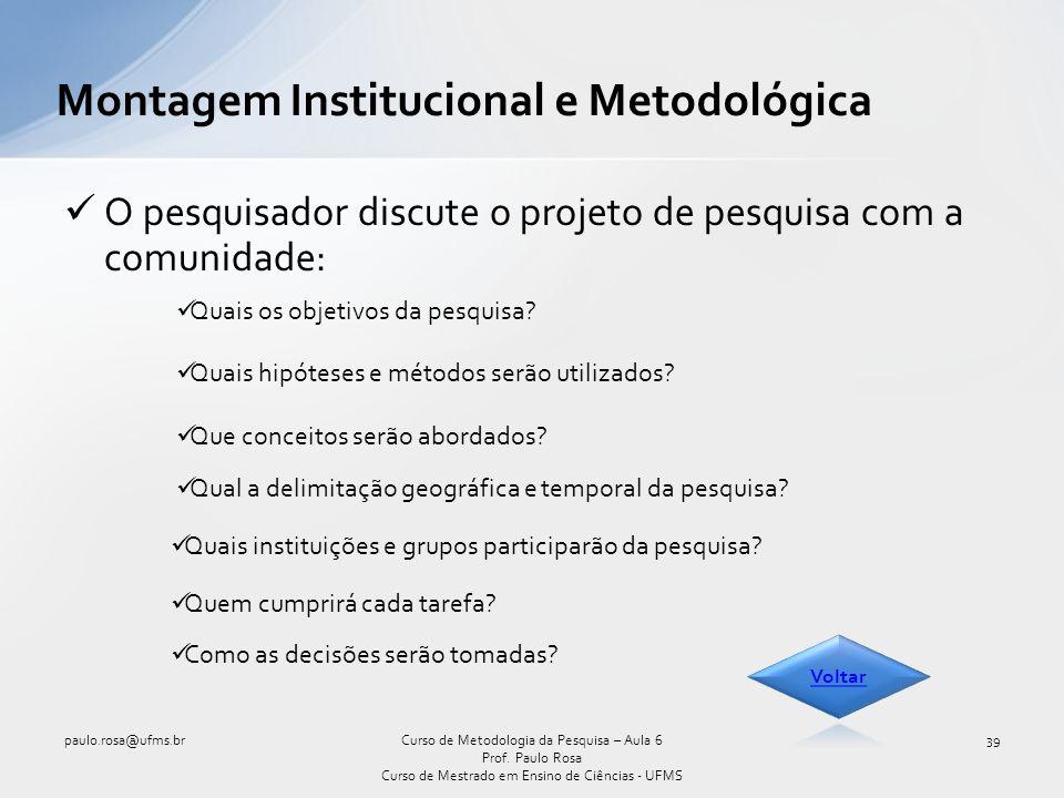 Montagem Institucional e Metodológica