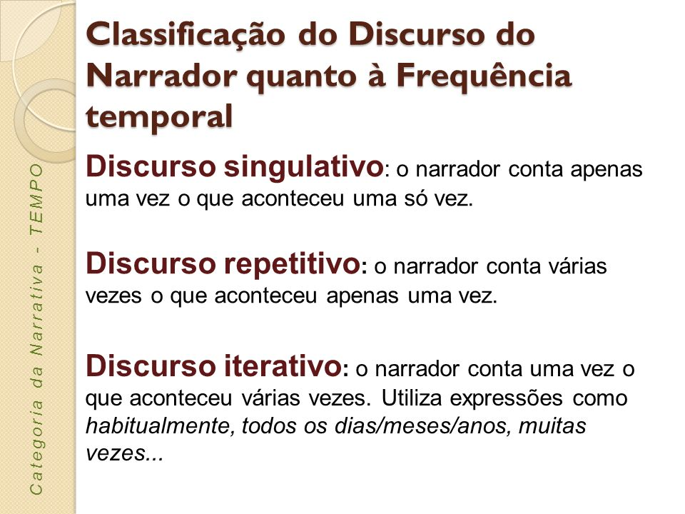 Classificação do Discurso do Narrador quanto à Frequência temporal