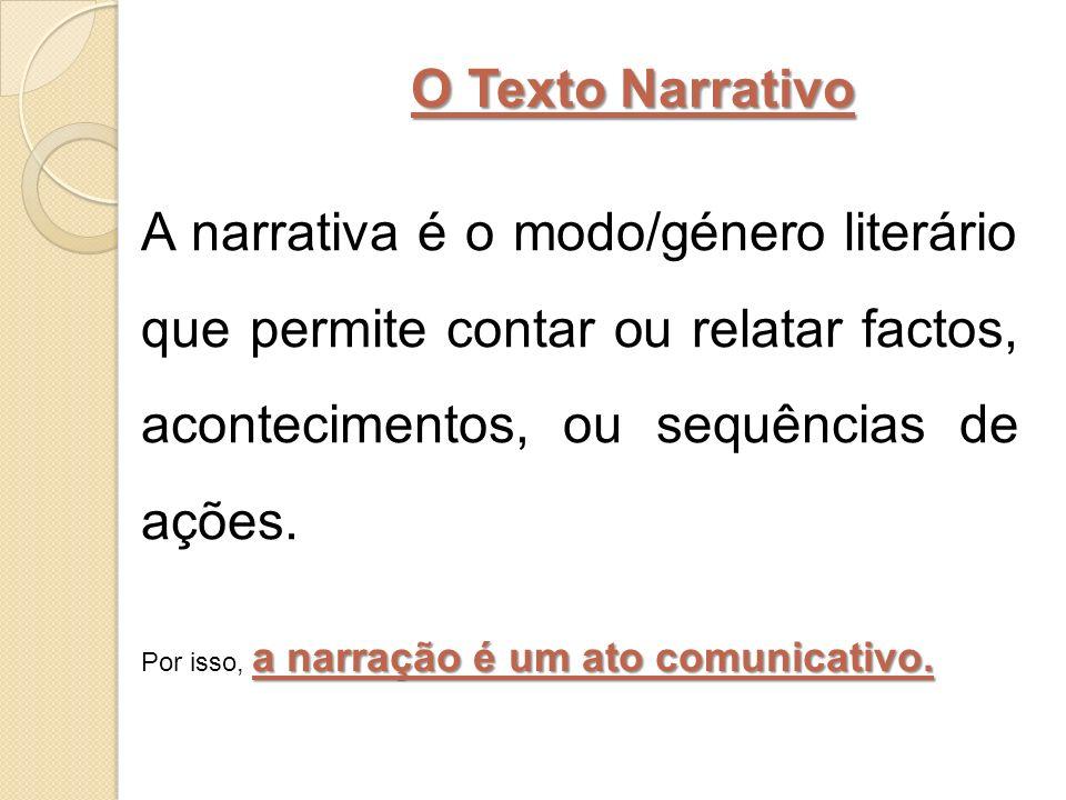 O Texto Narrativo A narrativa é o modo/género literário que permite contar ou relatar factos, acontecimentos, ou sequências de ações.