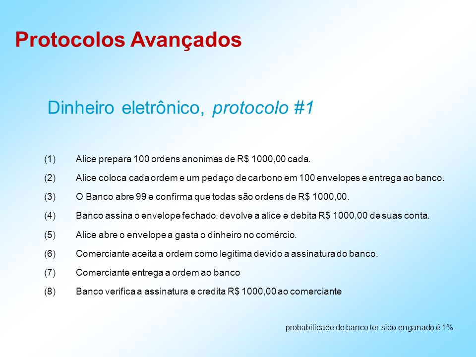 Dinheiro eletrônico, protocolo #1