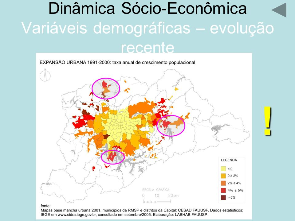 Dinâmica Sócio-Econômica Variáveis demográficas – evolução recente