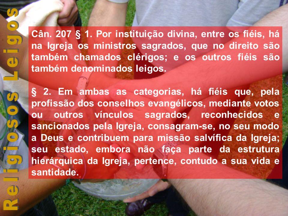 Cân. 207 § 1. Por instituição divina, entre os fiéis, há na Igreja os ministros sagrados, que no direito são também chamados clérigos; e os outros fiéis são também denominados leigos.