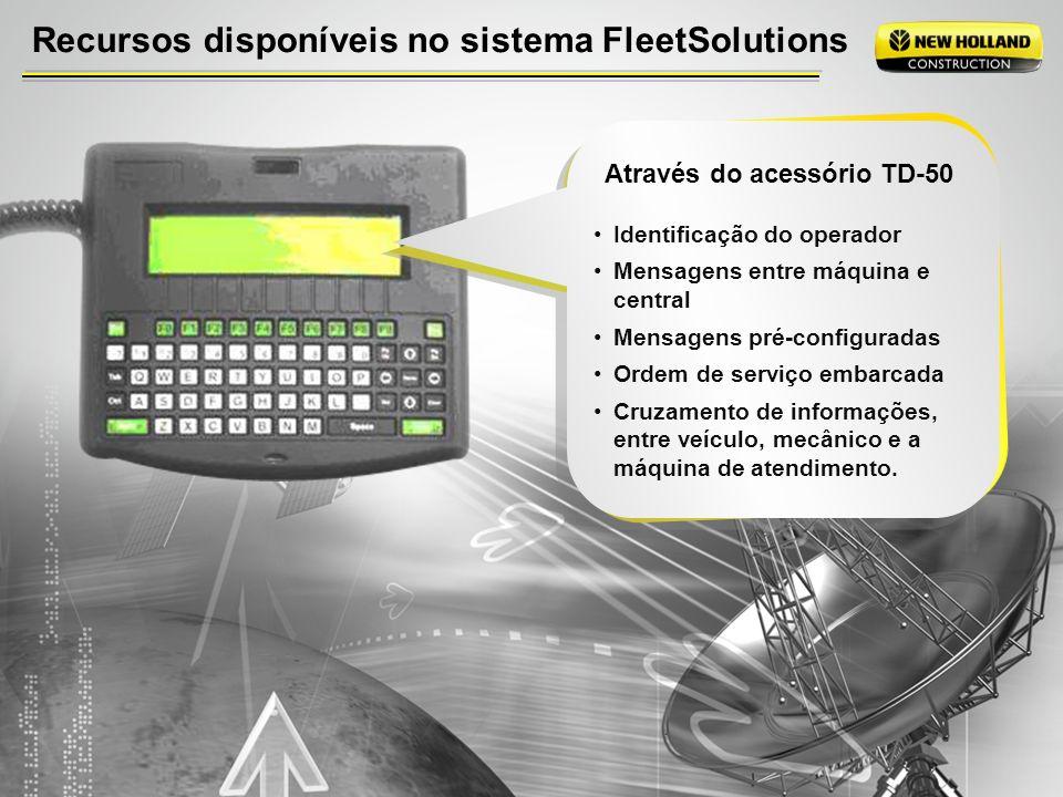 Recursos disponíveis no sistema FleetSolutions