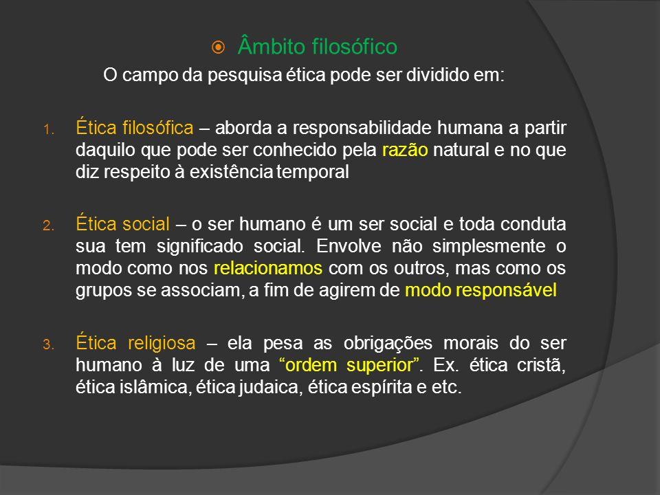 O campo da pesquisa ética pode ser dividido em: