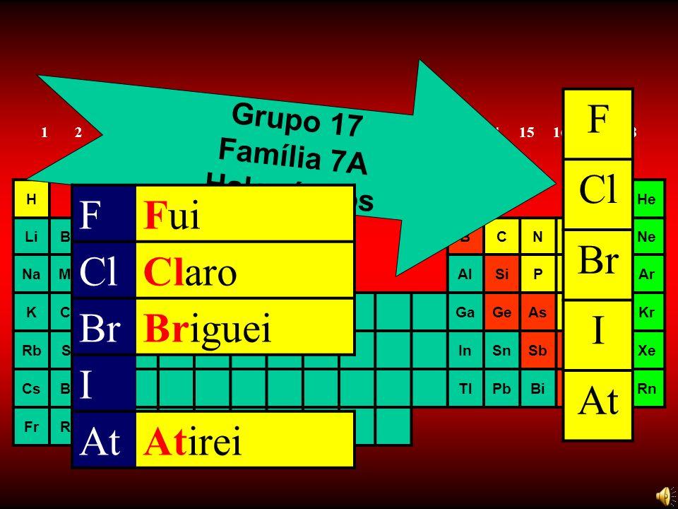 F Cl Br I At F Fui Cl Claro Br Briguei I At Atirei Grupo 17 Família 7A