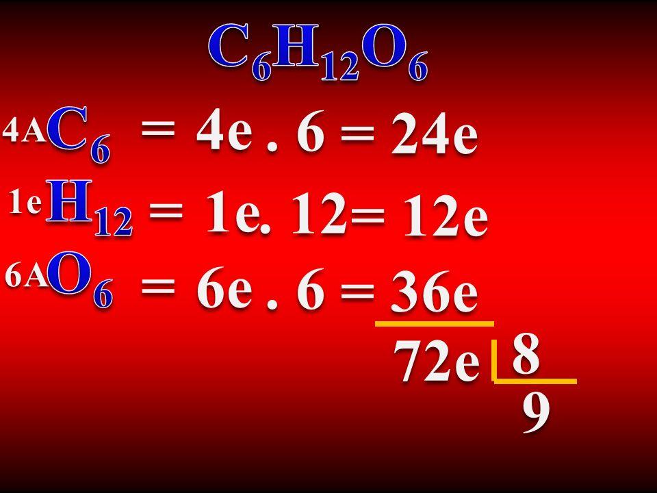 C6H12O6 C6 H12 O6 = 4e . 6 = 24e 4A = 1e 1e . 12 = 12e 6A = 6e . 6 = 36e 8 72e 9