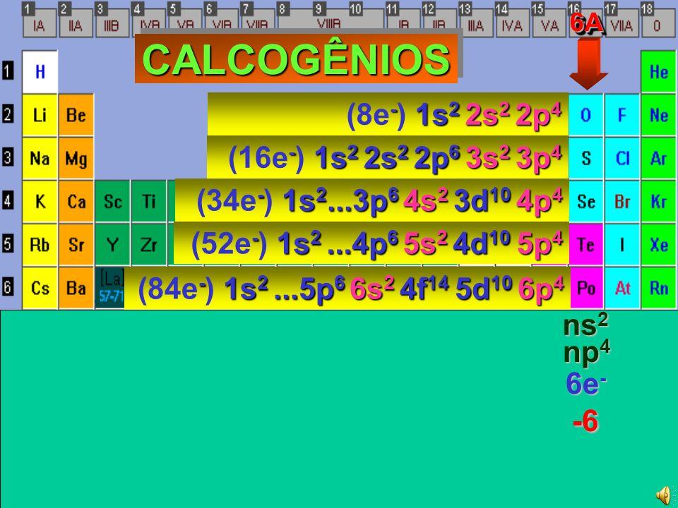-6 CALCOGÊNIOS (8e-) 1s2 2s2 2p4 (16e-) 1s2 2s2 2p6 3s2 3p4