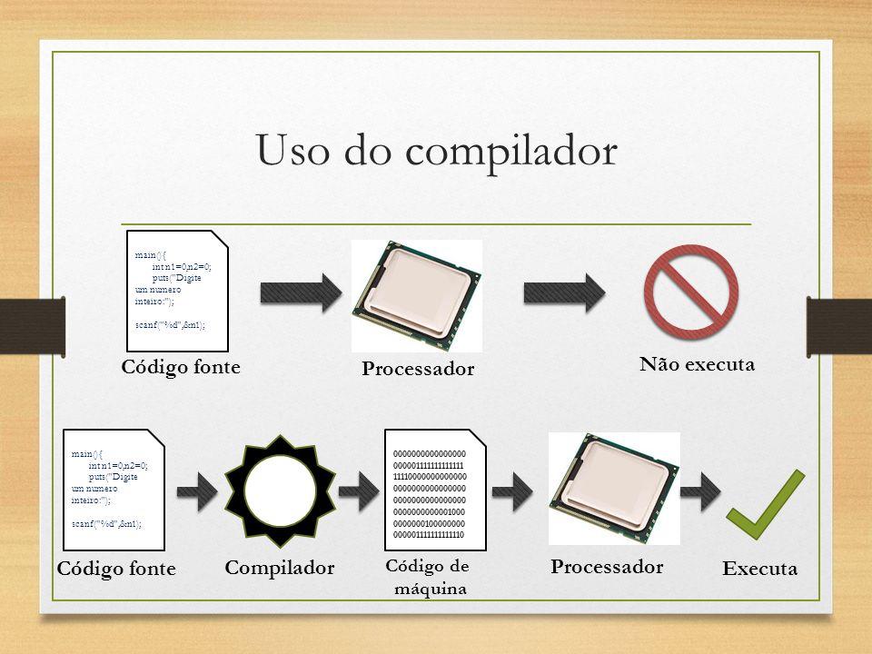 Uso do compilador Código fonte Processador Não executa Código fonte