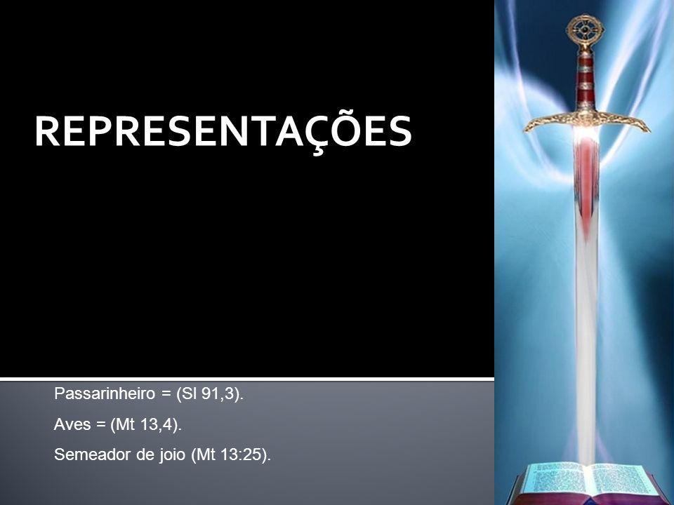 REPRESENTAÇÕES Passarinheiro = (Sl 91,3). Aves = (Mt 13,4).