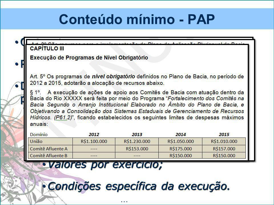 Conteúdo mínimo - PAP Objetivos; Recursos disponíveis (origem)