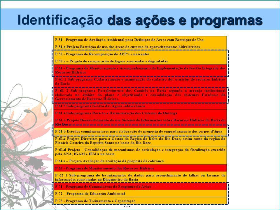 Identificação das ações e programas